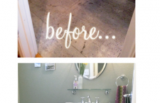 WIth some acrylic paint and a stencil you can redo a concrete or stone floor.