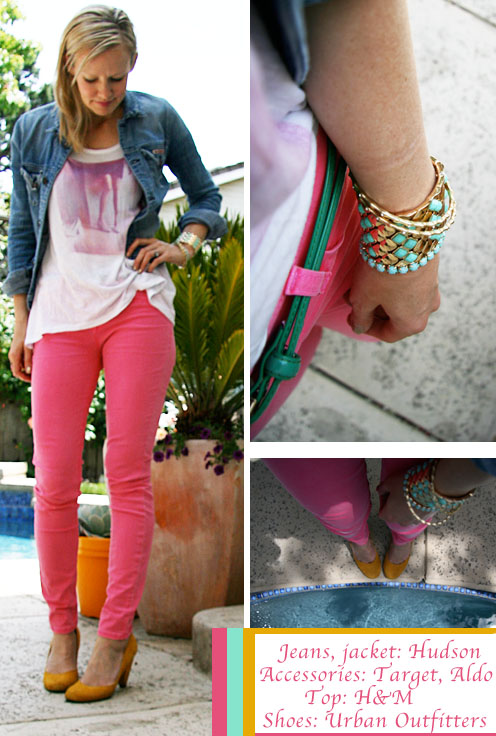 pink jeans with chambray, and mint accessories