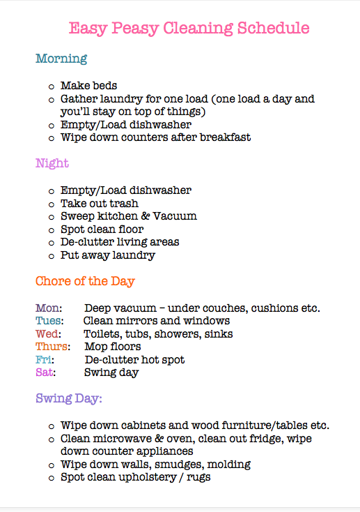 downloadable home cleaning schedule